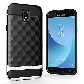Hülle für Samsung Galaxy J3 2017 Backcover Case Handy Schutzhülle - Cover 3D Prisma Design Weiß