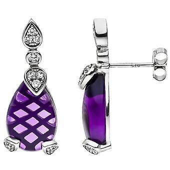 Oorbellen drop 925 zilver 2 amethist en 26 cubic zirconia purple violet oorbellen