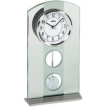 3120 table horloge quartz avec pendule d'argent Atlanta moderne avec verre pendule