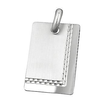 Pendant, engraved plate matte shiny diamantiert, Silver 925