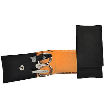 Arrow ring manicure case VEGAN black orange 3-piece Assembly manicure set