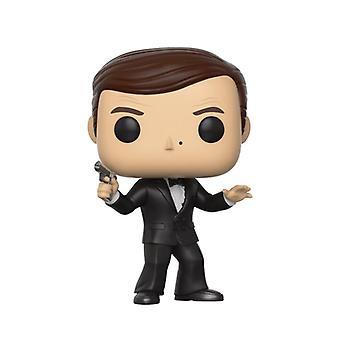 James Bond Pop! Vinyl Figur 522 James Bond Roger Moore aus Kunststoff, von Funko, in Geschenkbox.