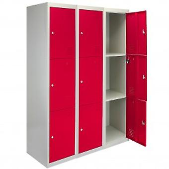 3 x Metal Storage Lockers - Three Doors, Red - Flatpack