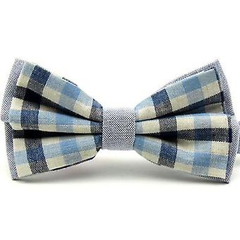 Light Blue & Navy Blue Check Vintage Style Bow Tie