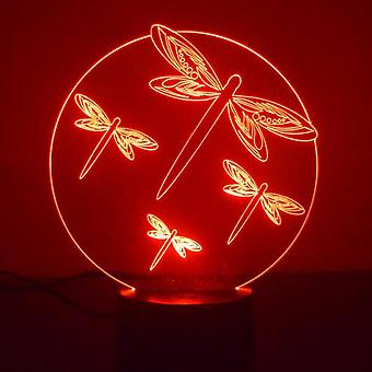 Dragonfly Circle Colour Changing LED Acrylic Light