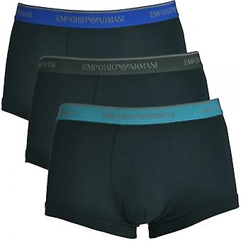 Emporio Armani Fashion Multipack coton Stretch 3-Pack Trunk, Marine et le fil bleu / sarcelle / Grey, X Large