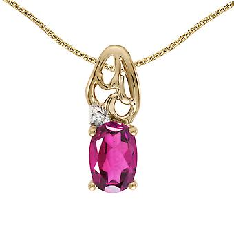 10k Yellow Gold Oval Pink Topaz And Diamond Pendant with 18