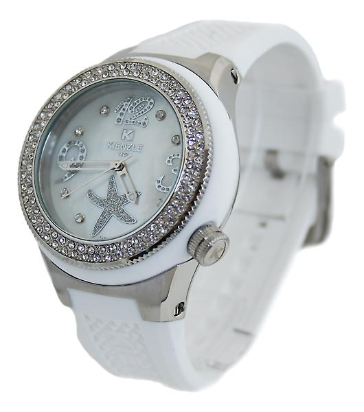 Waooh - 720 3062 Kienzle Watch for Women - White Silicone Bracelet - White Dial - Metal Box & white - silver bezel with rhinestones