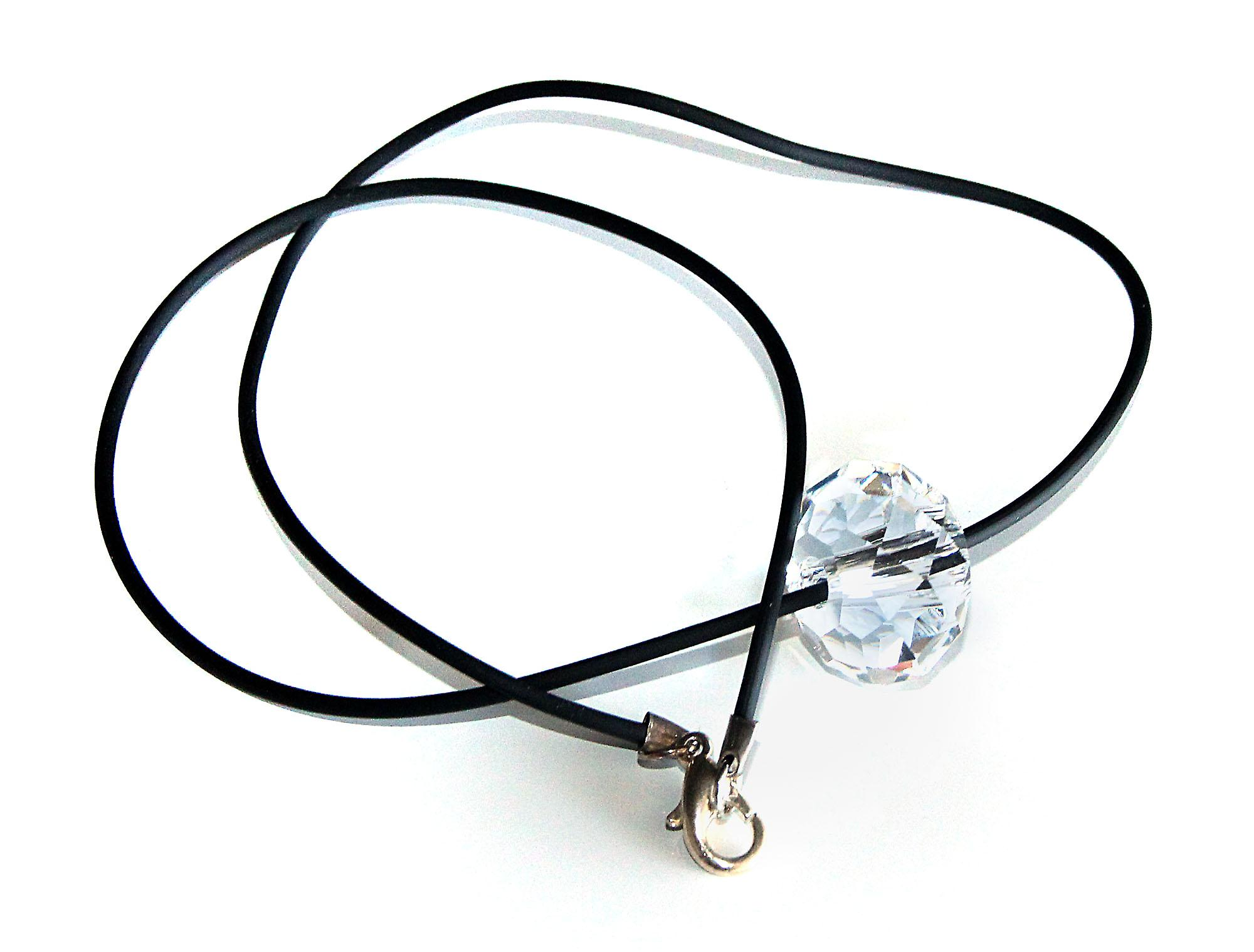Waooh - Jewelry - Swarovski / white diamond pendant and rubber cord - Wholesale
