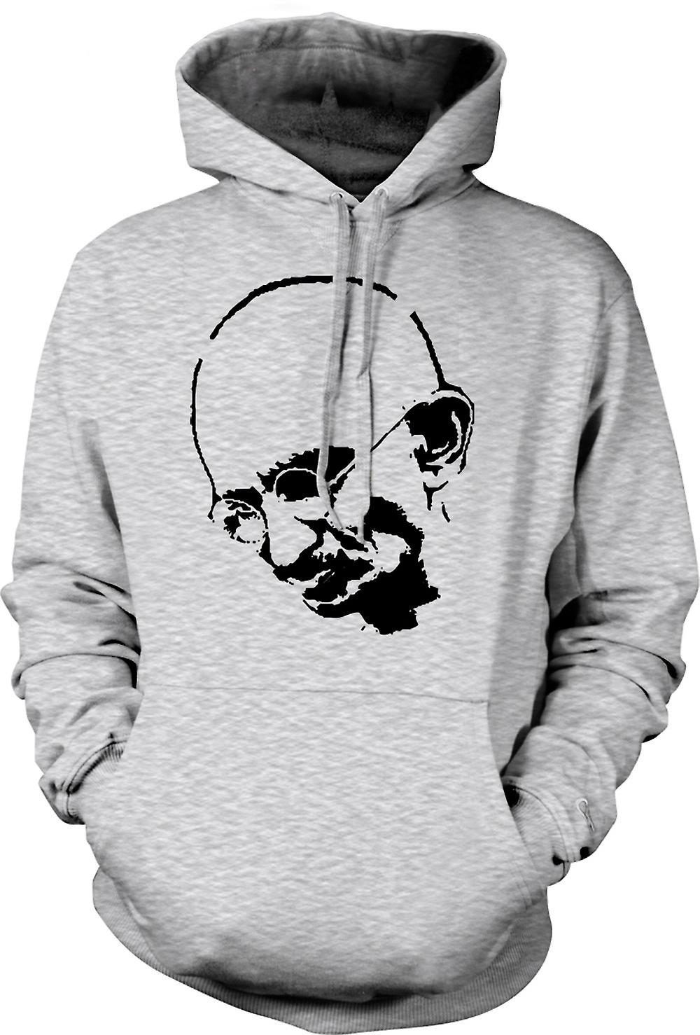 Mens-Hoodie - Ghandi - Indian - Hippie - Frieden