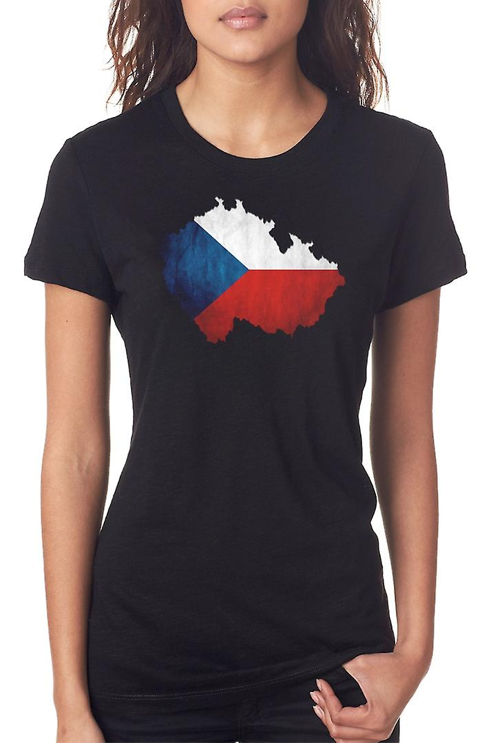 Czech Republic Flag Map Ladies T Shirt