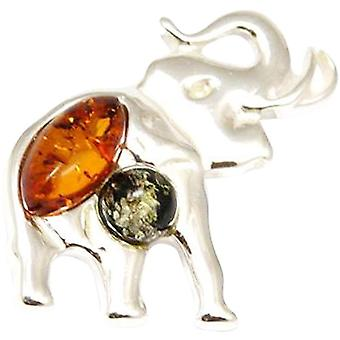The Olivia Collection Sterling Silver Elephant Shaped Amber Pendant