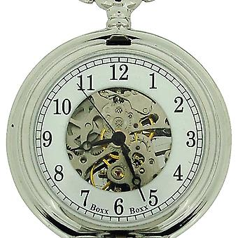 Boxx Gents Masonic Silver Tone Mechanical Pocket Watch on 12 Inch Chain BOXX303