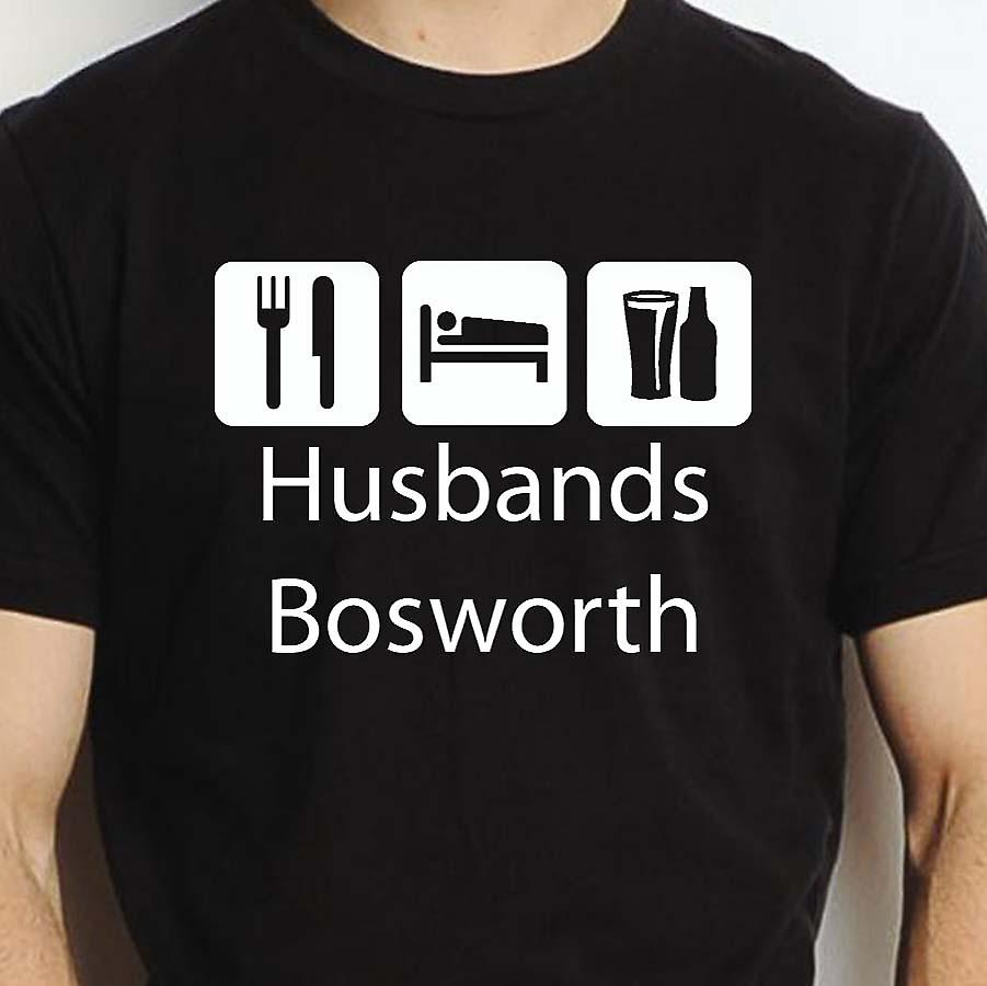 Eat Sleep Drink Husbandsbosworth Black Hand Printed T shirt Husbandsbosworth Town