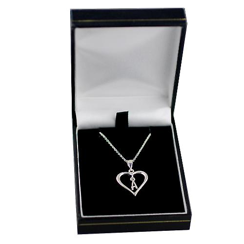 Silver 18x18mm initial A in a heart with rolo chain