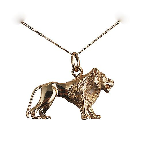 9ct Gold 15x23mm Lion Pendant with a curb Chain 18 inches