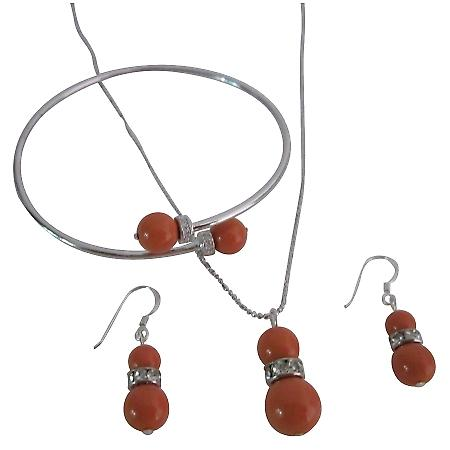Buy Fascinating Coral Pearls Complete Wedding Jewelry Necklace Set
