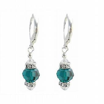 Swarovski Emerald & AB Crystals Diamond Spacer Silver Earrings
