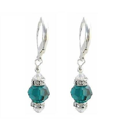 Swarovski Emerald & AB Crystals Diamond Spacer Silver Earrings