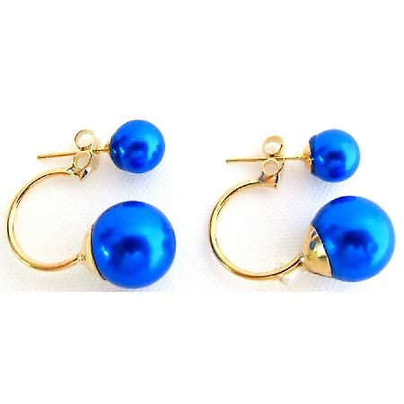 Double Sided Blue Pearl Bridesmaid Wedding Jewelry Bridal Earrings