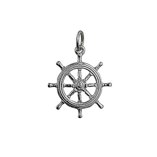 Silver 21mm Ship's Wheel Pendant or Charm