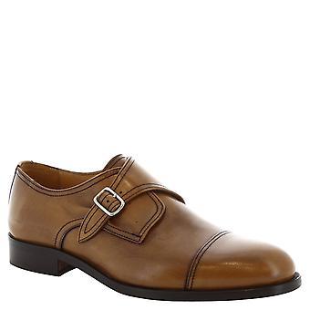 Leonardo Shoes Man's handmade tan leather monk shoes