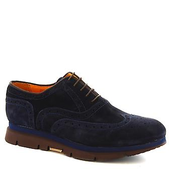 Leonardo Shoes Man's handmade lace ups shoes in blue suede leather