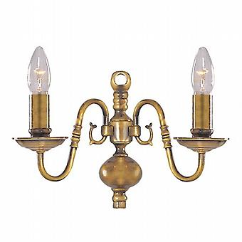 Searchlight Flemish 1019-2AB Traditional Wall Lights Double
