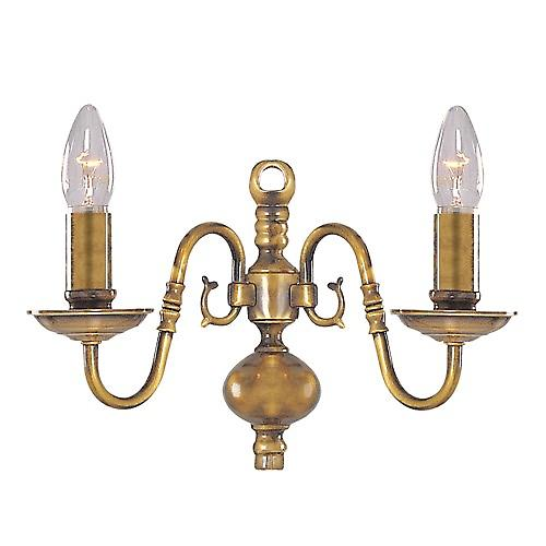 Searchlight 1019-2AB Flemish 2 Arm Antique Brass Traditional Wall Light