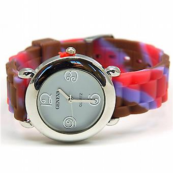 TOC Childrens Funky multi farvet stribet silikone strop Watch