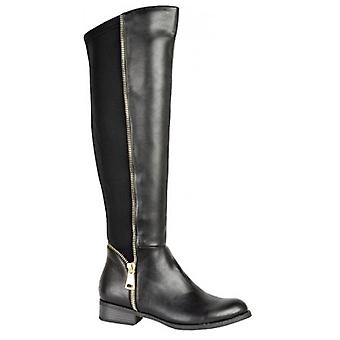 Ladies Faux PU Leather Knee High Low Heel Elastic Gold Zip Detail Shoes Boots