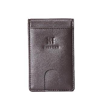 Hauton Bi Fold Credit Card Money Clip Wallet - Brown