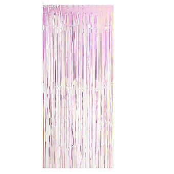 TRIXES Iridescent Fringe Foil Curtain Backdrop - Party Curtain Decoration – Weddings Unicorn Mermaid Theme – 2 Metre