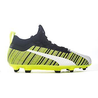 Puma One 5.3 FG/AG Firm Ground Kids Football Boot White/Black/Yellow Rush
