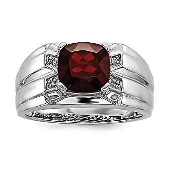 925 Sterling Silver Garnet and Diamond Square Mens Ring - Ring Size: 9 to 11