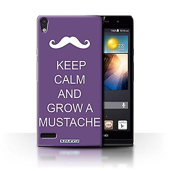 STUFF4 Case/Cover for Huawei Ascend P6/Grow a Mustache/Purple/Keep Calm