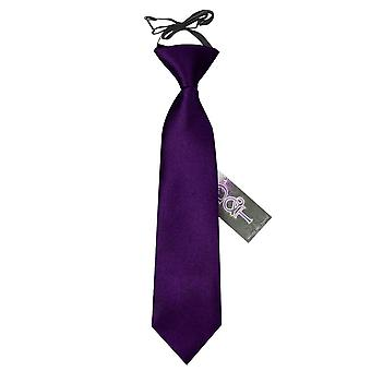 Boy's Plain Purple satijn Pre-Tied gelijkspel (2-7 jaar)
