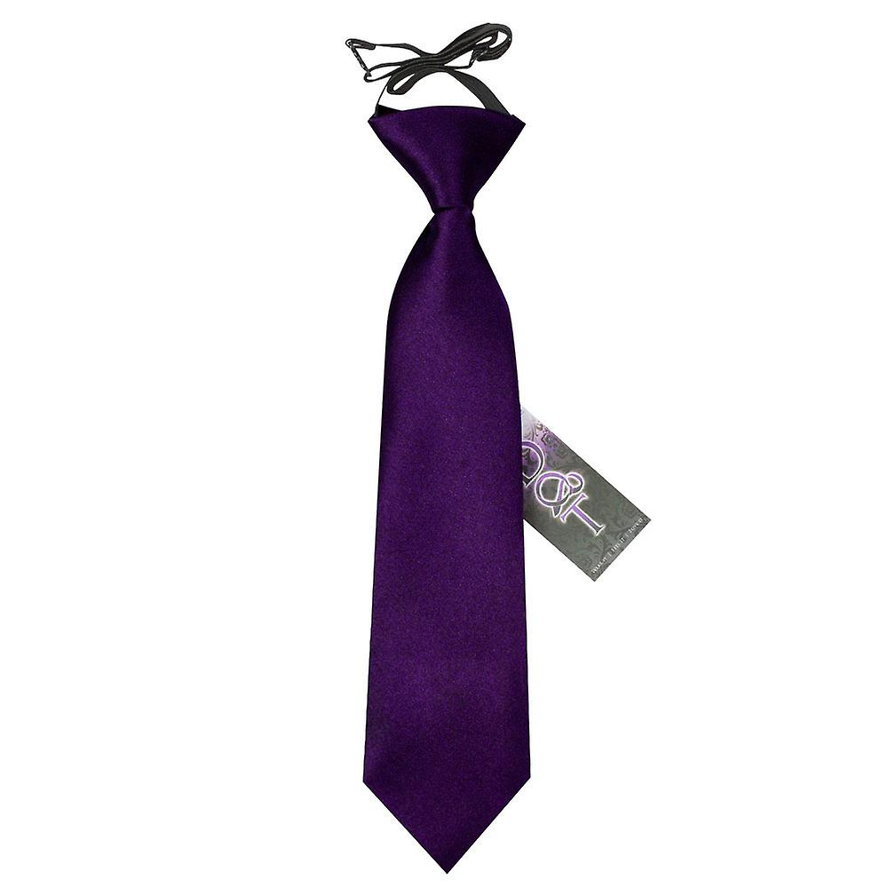 Boy's Plain Purple Satin Pre-Tied Tie (2-7 years)