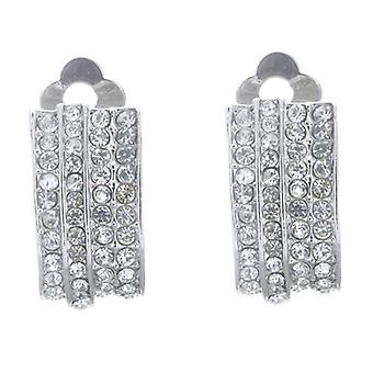 Clip On Earrings Store Silver and Four Row Crystal Semi Hoop Clip On Earrings