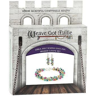 Chainmaile Bracelet & Earrings Jewelry Kit-Girls Just Wanna Have Fun/Multi KBA14103