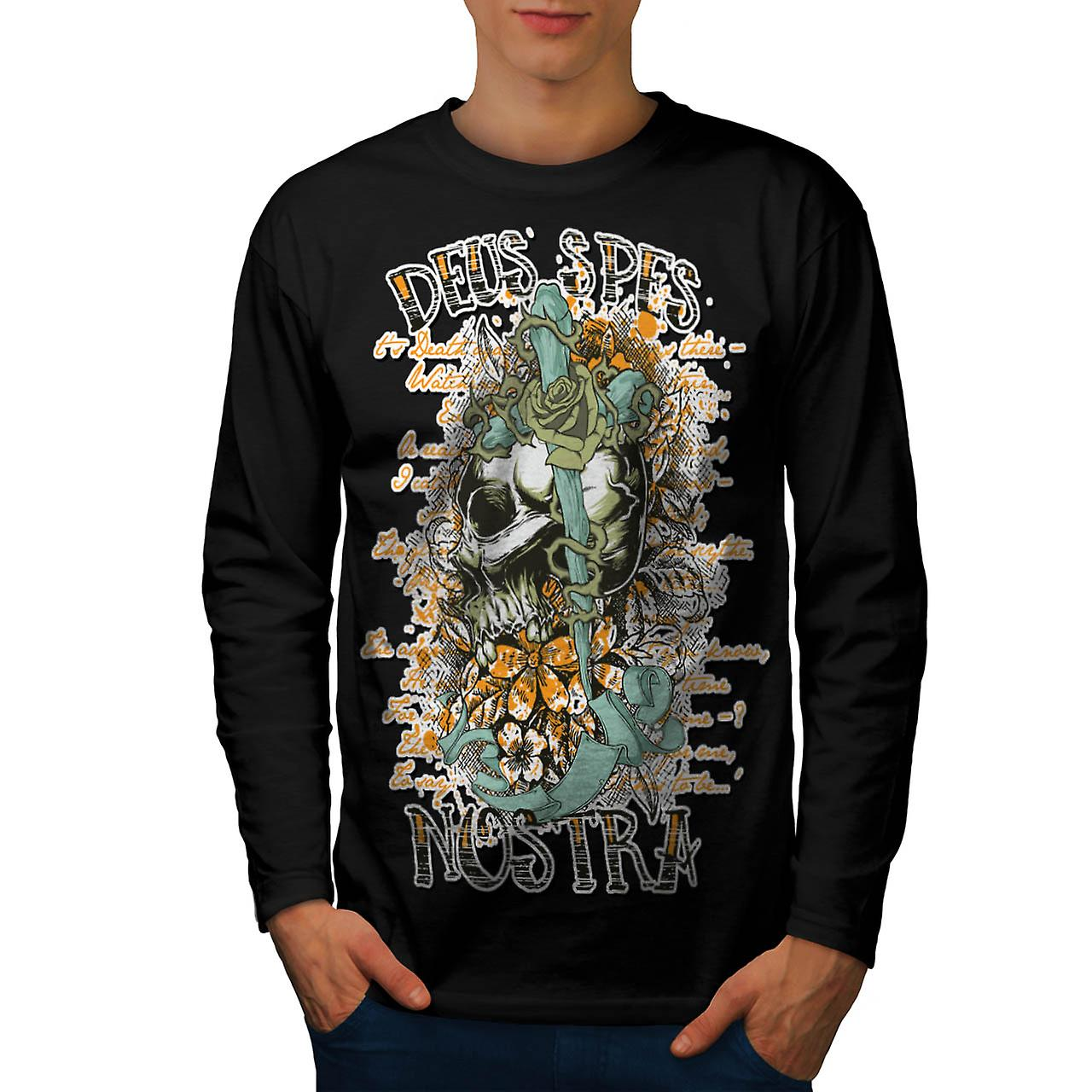 Monster Skull Curse Death Land Men Black Long Sleeve T-shirt | Wellcoda
