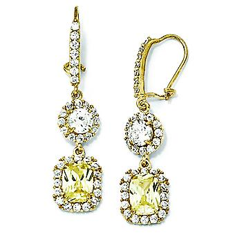Gold-plated Sterling Silver Canary White CZ French Wire Earrings