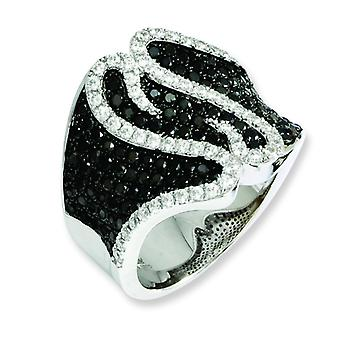 Sterling Silver Rhodium-plated and Cubic Zirconia Brilliant Embers Ring - Ring Size: 6 to 8