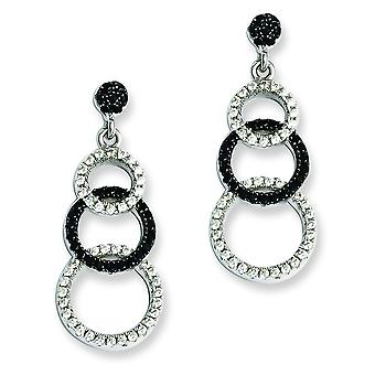 Sterling Silver Rhodium-plated and Cubic Zirconia Brilliant Embers Circle Dangle Post Earrings