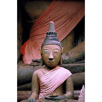 Buddha in Sanctuary Wat Phu Khmer Champasak Laos Poster Print by Nik Wheeler