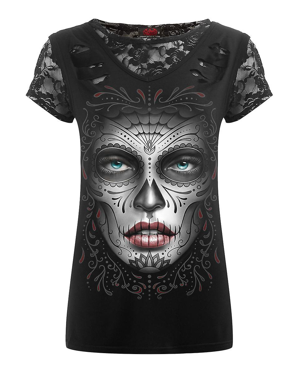 Spiral Direct Womens Death Mask 2 In 1 Ripped Lace Tshirt Top Black Sugar Skull