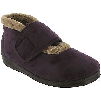 Mirak Ladies Jeane Touch Fastening Bootee Textile Rubber Wide Slippers Footwear