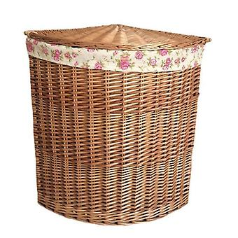 Large Light Steamed Corner Laundry Baskets with Garden Rose Lining
