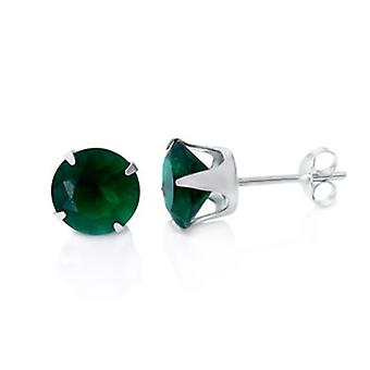 925 sterling silver Stud Earrings - around / Green