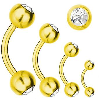 Curved Barbell Gold Plated Titanium 1,6 SWAROVSKI ELEMENTS Crystal White | 6-16